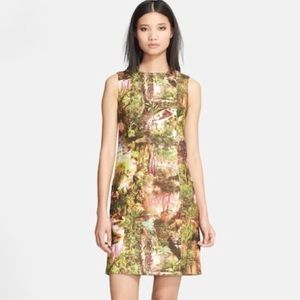 Carven Dress 42 Havana Jungle Sheath Tree Tropical